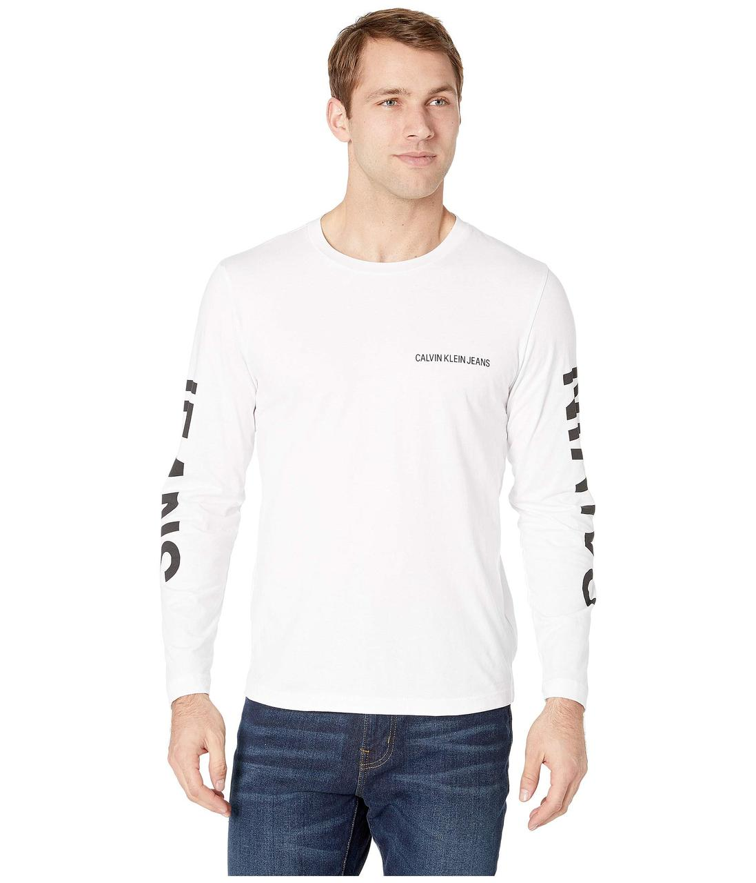 0a9105950d263 Футболка Calvin Klein Jeans Institutional Logo Back Print Long Sleeve  White, (10150394)