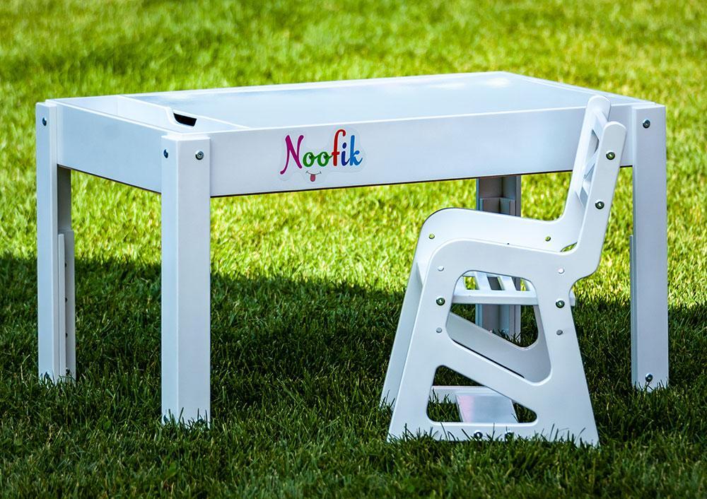 Акция! Детский Световой стол-песочница для анимации Noofik (МДФ, белый) и стульчик + подарок набор трафаретов