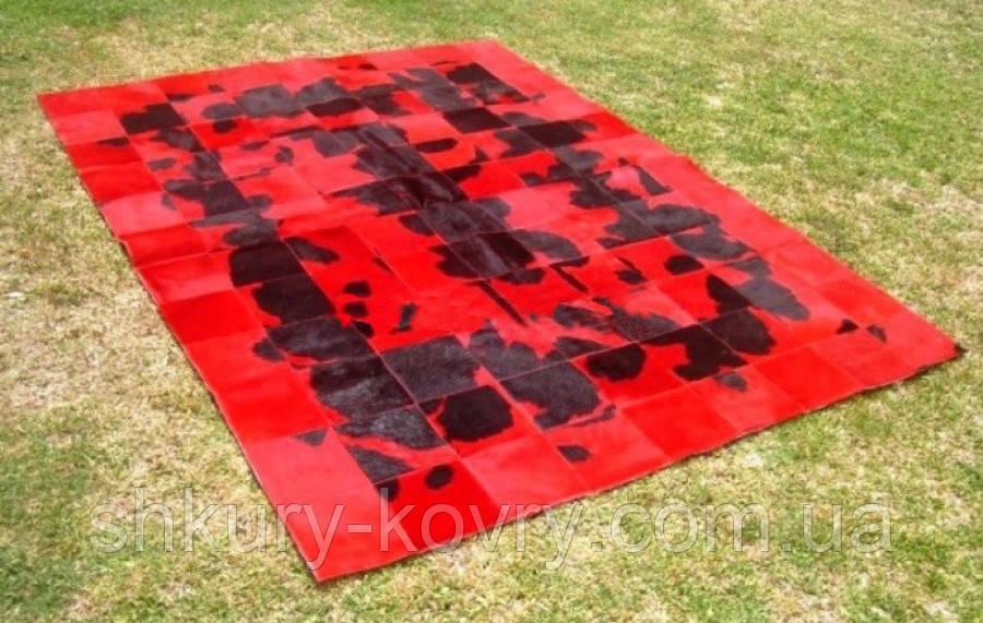 Черно красный кожаный ковер печворк, аргентинские ковры