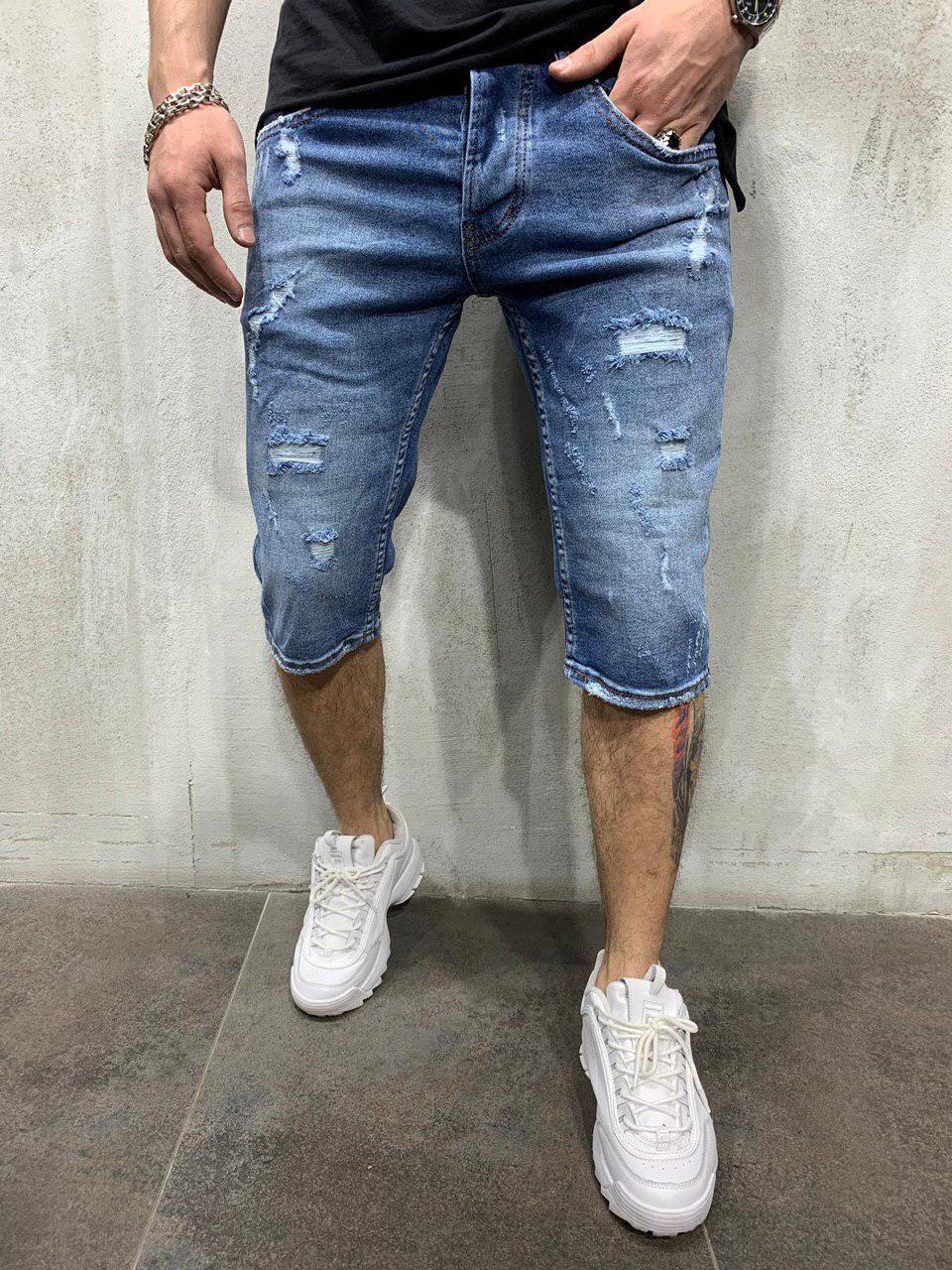 Мужские джинсовые шорты синие потертые 791