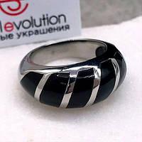 Стальное кольцо с эмалью женское Зебра 10 мм 129202