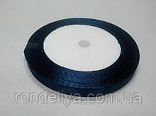 Лента атлас 0,6 см 23 метра темно-синяя