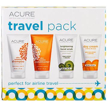 Acure, Пакет для путешествий, шампунь, кондиционер, осветляющий скраб для лица, дневной крем, 4 предмета, по 30 мл (1 унция) каждый