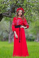 Шикарное вышитое платье на свадьбу красного цвета (П16-261)