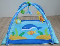 Детский игровой коврик с погремушками, дельфинчик