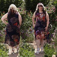 Платье женское  батал шифоновое размеры 50-60 цвет черный