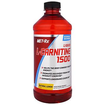 MET-Rx, Liquid L-Carnitine 1500, Натуральный Аромат Лимона, 16 жидких унций (473 мл)