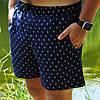 Плавательные шорты мужские летние стильные с принтом Якоря, цвет синий