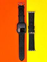 Ремешок для Apple Watch, Черный стёганый. Эко-кожа 38/40mm