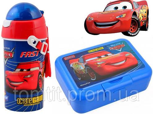 """Набор """"Cars (Тачки)"""".  Ланч бокс (ланчбокс) с приборами + бутылка с трубочкой, фото 2"""