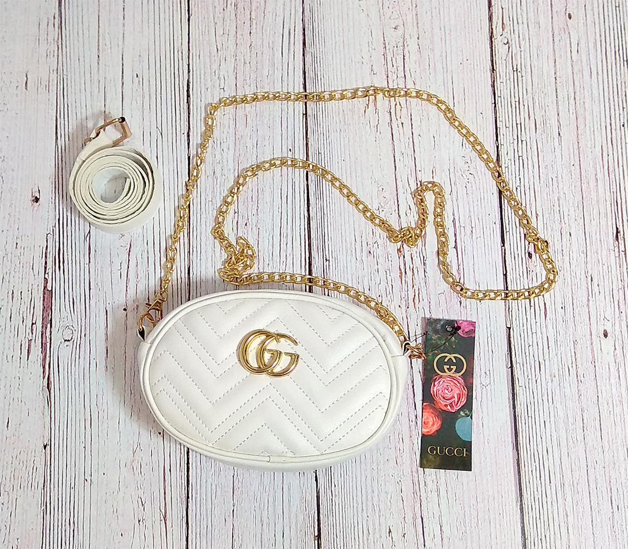Женская бананка, поясная сумка гучи, Gucci, кроссбоди. Белая / 88101 GG