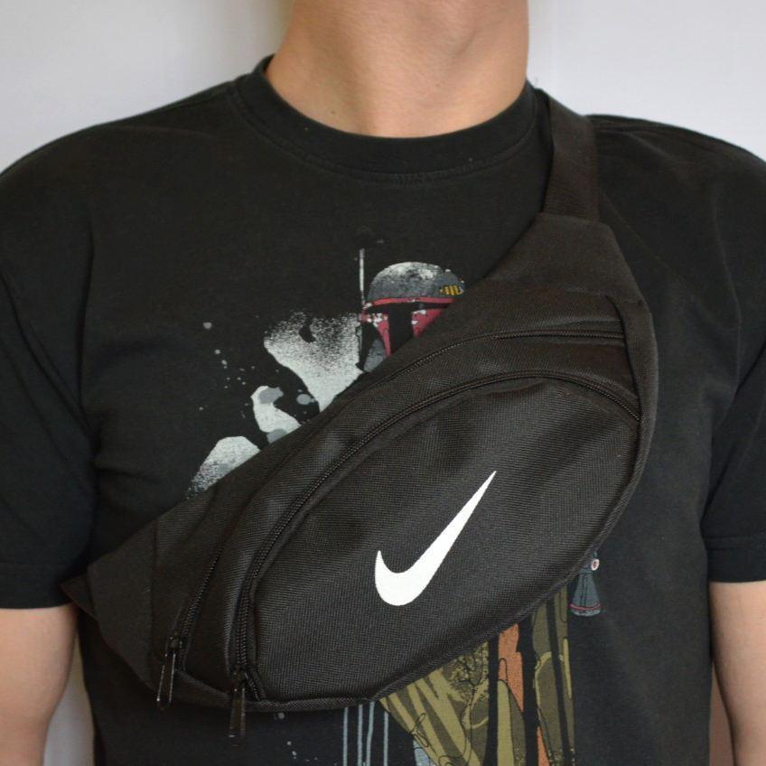 Поясная сумка, Бананка, барсетка в стиле найк,. Черная