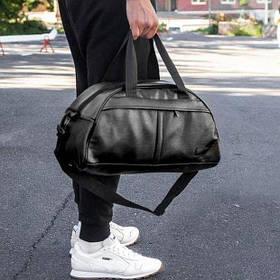 Фитнес-сумка в стиле найк,  для тренировок. Черная. Кожзам