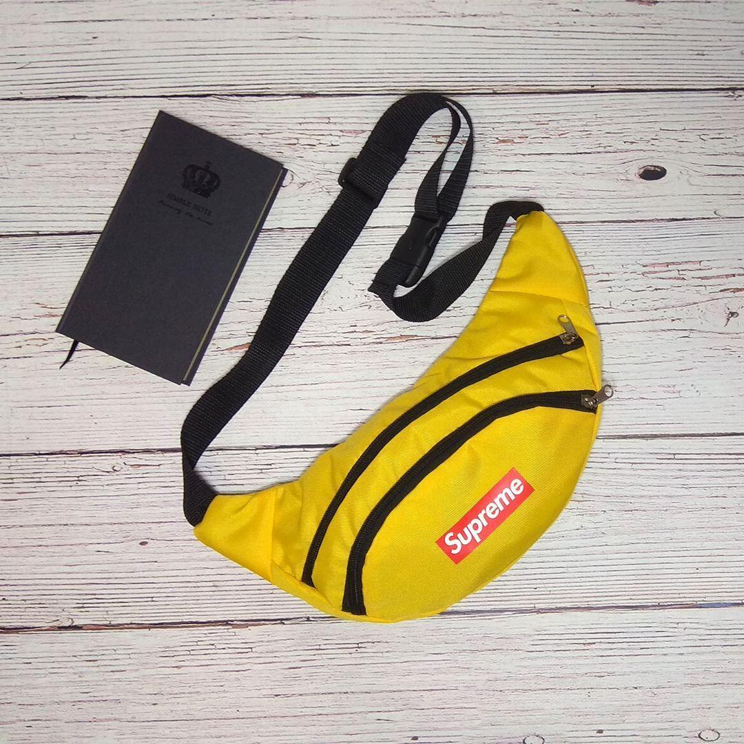 Поясная сумка, Бананка, барсетка суприм, Supreme. Желтая