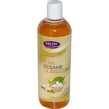 Life Flo Health, Чистое кунжутное масло для ухода за кожей, 473 мл