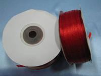 Лента атлас 0,3 см 90 м красная