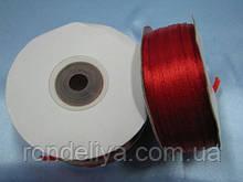 Стрічка атлас 0,3 см 90 м червона