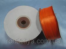 Лента атлас 0,3 см 90 м оранжевый апельсин