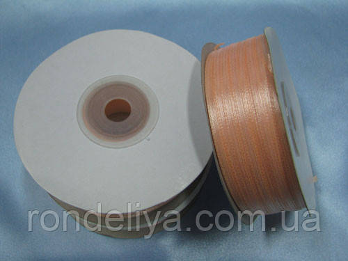 Лента атлас 0,3 см 90 м персиковый