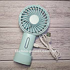 Мини-вентилятор портативный Handhald Fan F20 Blue. Ручной вентилятор с аккумулятором F20 Голубой, фото 9