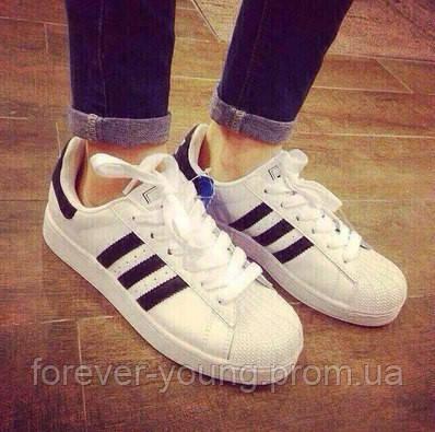1d2a60284 Кроссовки унисекс Adidas Superstar белые с черными полосками -  Интернет-магазин