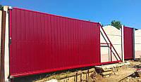 Откатные металлические ворота из профнастила (3 500×2 000 мм)