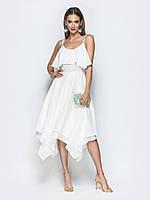 5d5d46f57a91e7 Жіночне плаття в пастельних тонах на регульованих бретелях білий розмір 44  46 48