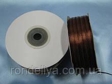 Стрічка атлас 0,3 см 90 м коричнева
