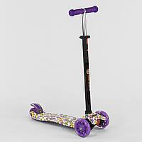 Самокат-кикборд Best Scooter MAXI белый со светящимися фиолетовыми колесами деткам от 3 лет