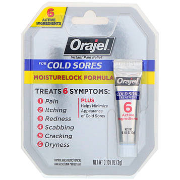 Orajel, Формула, запирающая влагу. Лечение герпеса, 0,105 унц.(3 г)