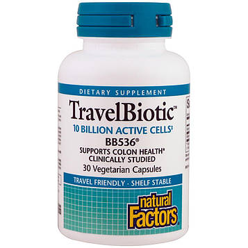 Natural Factors, Travel Biotic BB536, 30 вегетарианских капсул