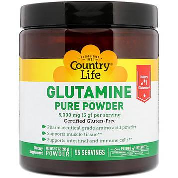 Country Life, Чистый порошковый глютамин, 5000 мг, 275 г