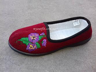 Женские домашние туфли Красные текстильные тапочки
