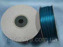 Стрічка атлас 0,3 см 90 м світло-синій