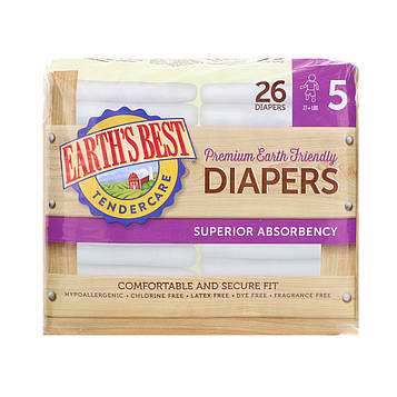 Earths Best, TenderCare, Premium Earth Friendly, Diapers, Size 5, 27+ lbs, 26 Diapers