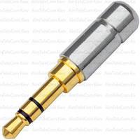 Штекер 3.5мм стерео, мини, gold, металлический корпус