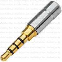 Штекер 3.5мм 4С, мини, gold, металлический корпус