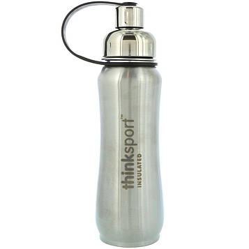 Think, Thinksport, Изолированная спортивная бутылка, Серебристая, 17 унций (500 мл)