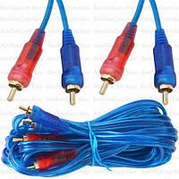 Шнур соединительный, 2 RCA - 2 RCA, gold, Ø3+3мм прозрачно-синий, 5м