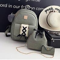 Набор 3 в 1 женский рюкзак, сумка, визитница Victory, остались черные и хаки хаки