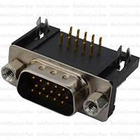 Штекер HDRB-15pin  монтажный, угловой, для платы (3-х рядный)