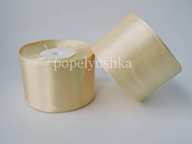 Стрічка атласна 5 см молочна