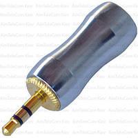 Штекер 3.5мм стерео, металлический корпус, gold, cеребристый