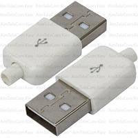 Штекер USB тип A, под шнур, бакелит, белый