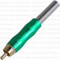 Штекер RCA металлический gold, Ø6.5мм, с пружиной, зелёный