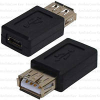 Переходник, гнездо USB A - гнездо micro USB