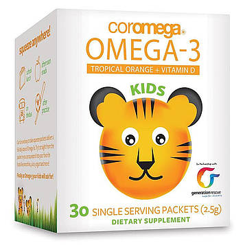 Coromega, Kids, омега-3, тропический апельсин + витамин D, 30 пакетиков (2,5 г)