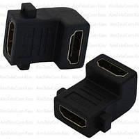 Переходник, гнездо HDMI - гнездо HDMI, gold, угловой, в блистере (Тип 2)