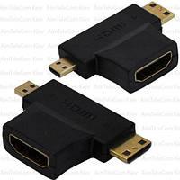 Переходник, гнездо HDMI - штекер mini HDMI + штекер micro HDMI, gold