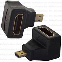 Переходник, штекер micro HDMI - гнездо HDMI, угловой, gold, пластик